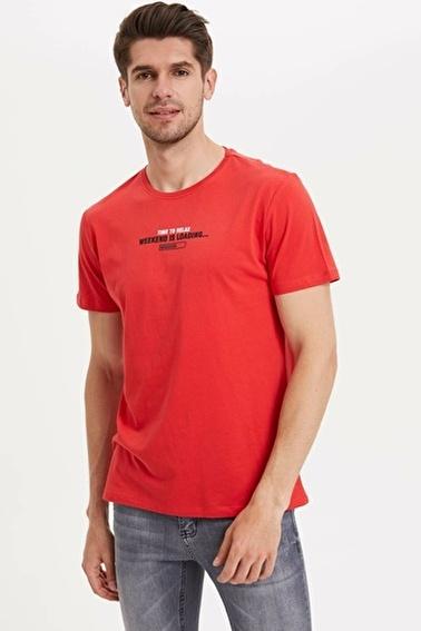 DeFacto Slim Fit Baskılı T-shirt Kırmızı